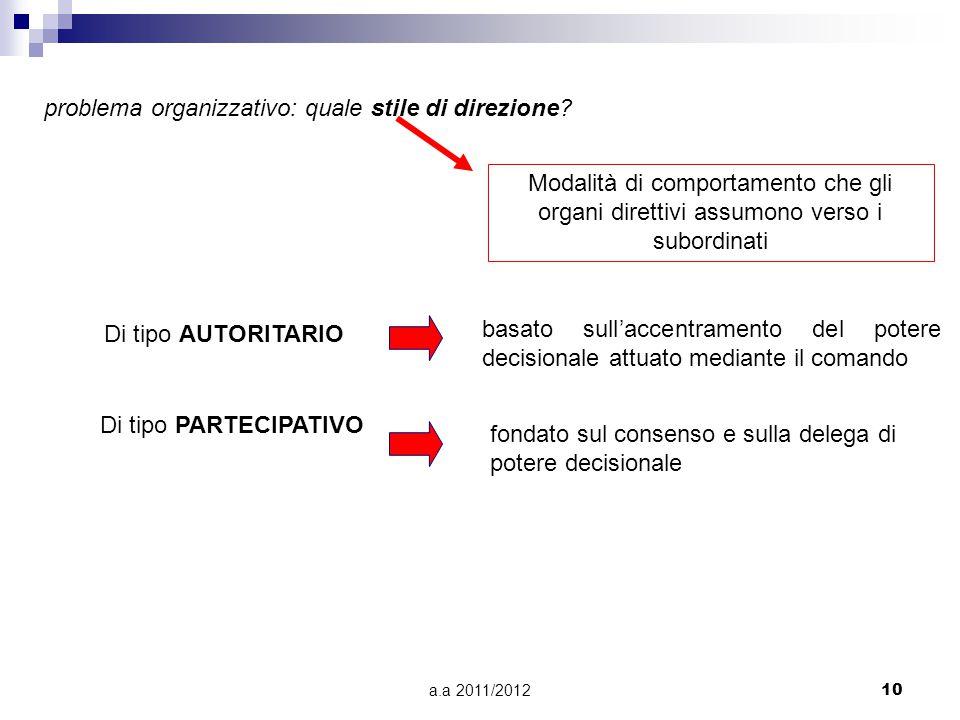 a.a 2011/201210 problema organizzativo: quale stile di direzione? Modalità di comportamento che gli organi direttivi assumono verso i subordinati Di t