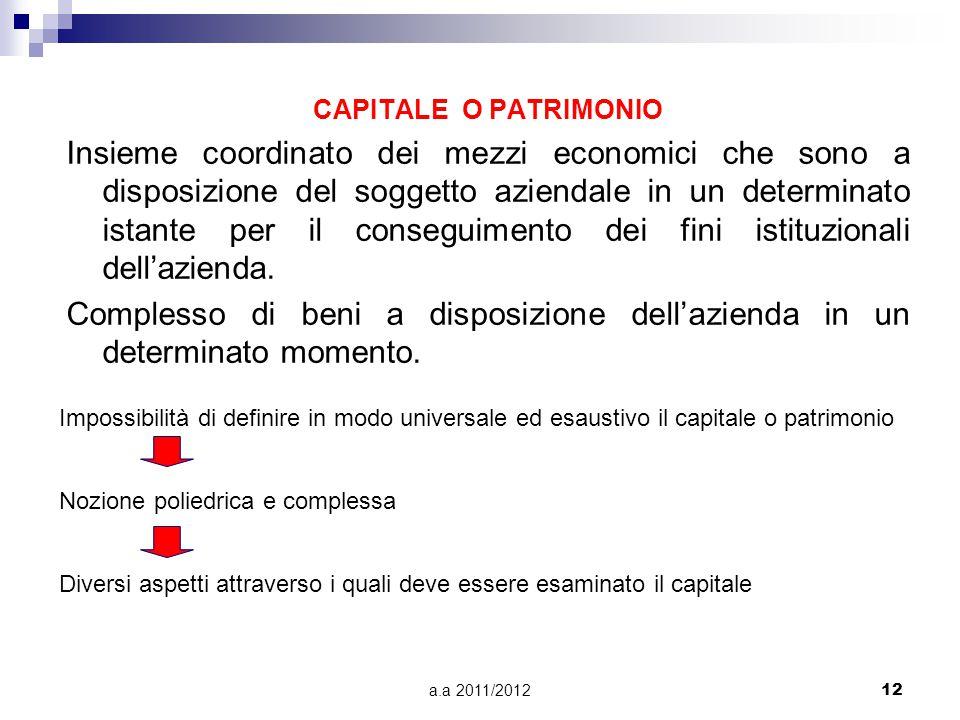 a.a 2011/201212 CAPITALE O PATRIMONIO Insieme coordinato dei mezzi economici che sono a disposizione del soggetto aziendale in un determinato istante per il conseguimento dei fini istituzionali dell'azienda.