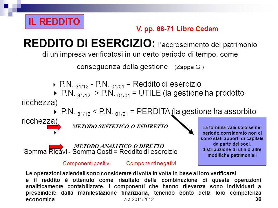 a.a 2011/201236 REDDITO DI ESERCIZIO: l'accrescimento del patrimonio di un'impresa verificatosi in un certo periodo di tempo, come conseguenza della gestione (Zappa G.)  P.N.