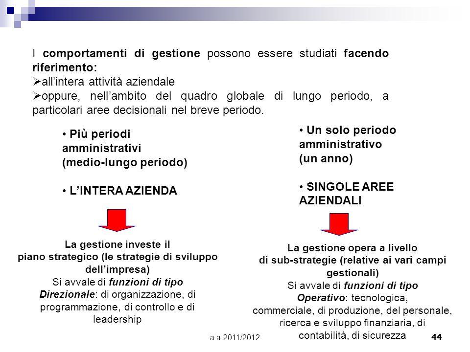 a.a 2011/201244 Più periodi amministrativi (medio-lungo periodo) L'INTERA AZIENDA Un solo periodo amministrativo (un anno) SINGOLE AREE AZIENDALI La g