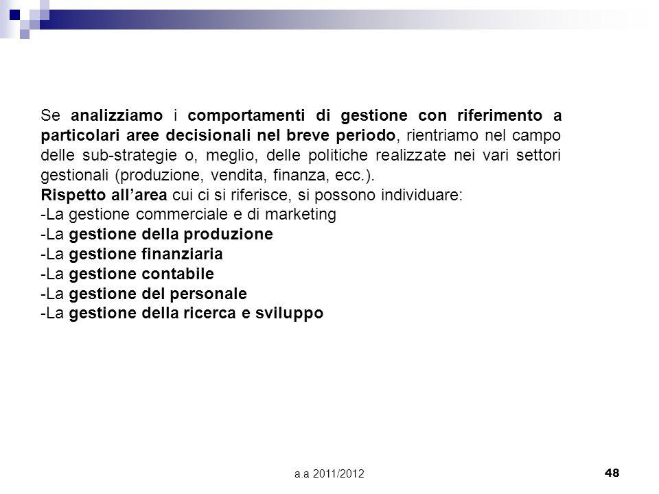 a.a 2011/201248 Se analizziamo i comportamenti di gestione con riferimento a particolari aree decisionali nel breve periodo, rientriamo nel campo dell