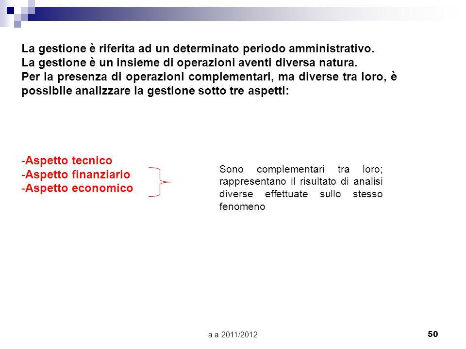 a.a 2011/201250 La gestione è riferita ad un determinato periodo amministrativo.