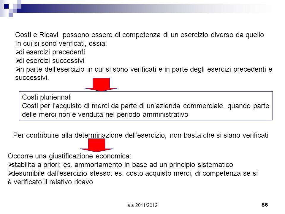 a.a 2011/201256 Costi e Ricavi possono essere di competenza di un esercizio diverso da quello In cui si sono verificati, ossia:  di esercizi precedenti  di esercizi successivi  in parte dell'esercizio in cui si sono verificati e in parte degli esercizi precedenti e successivi.