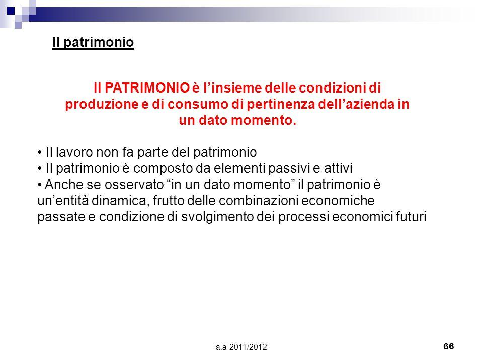 a.a 2011/201266 Il patrimonio Il PATRIMONIO è l'insieme delle condizioni di produzione e di consumo di pertinenza dell'azienda in un dato momento.