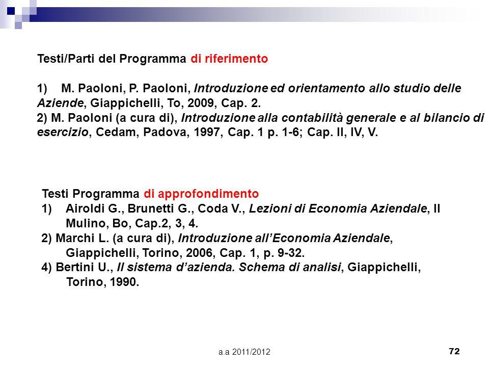 a.a 2011/201272 Testi/Parti del Programma di riferimento 1)M. Paoloni, P. Paoloni, Introduzione ed orientamento allo studio delle Aziende, Giappichell