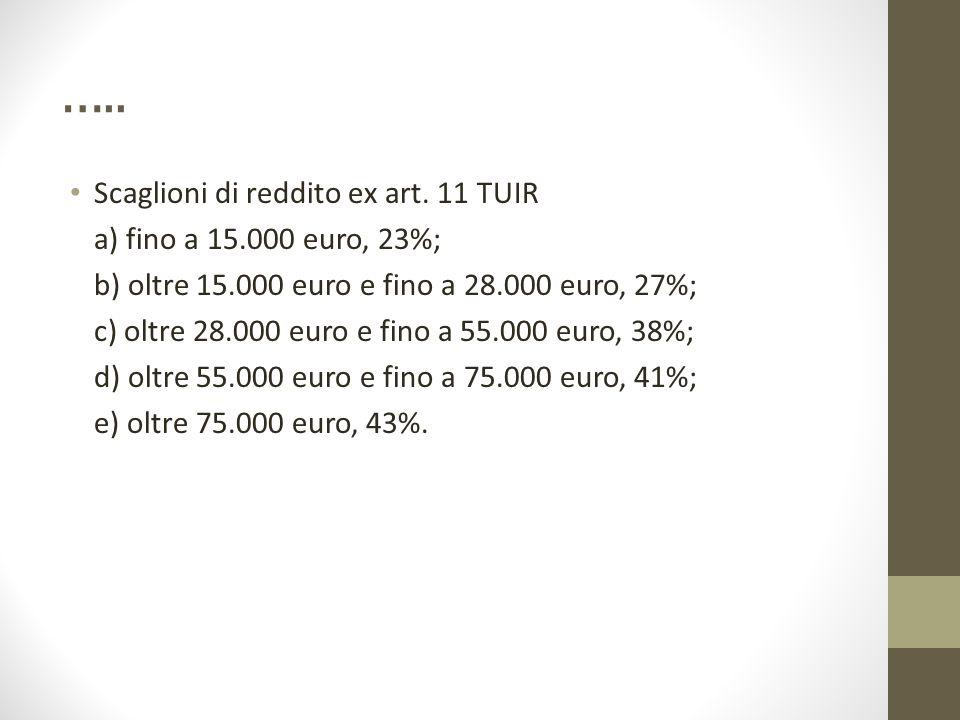 ….. Scaglioni di reddito ex art. 11 TUIR a) fino a 15.000 euro, 23%; b) oltre 15.000 euro e fino a 28.000 euro, 27%; c) oltre 28.000 euro e fino a 55.