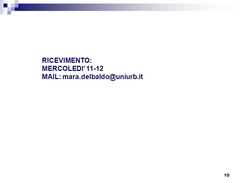 10 RICEVIMENTO: MERCOLEDI' 11-12 MAIL: mara.delbaldo@uniurb.it