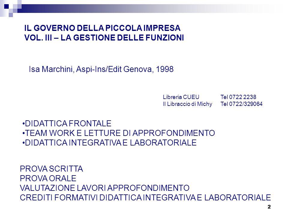 2 IL GOVERNO DELLA PICCOLA IMPRESA VOL. III – LA GESTIONE DELLE FUNZIONI Isa Marchini, Aspi-Ins/Edit Genova, 1998 Libreria CUEUTel 0722 2238 Il Librac