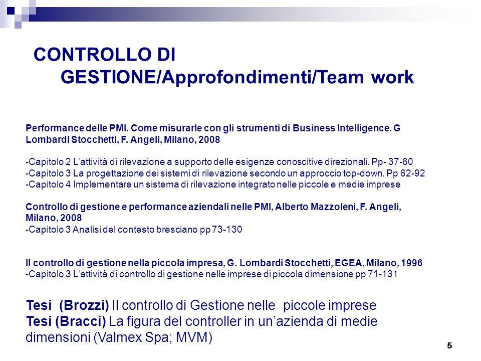 5 CONTROLLO DI GESTIONE/Approfondimenti/Team work Performance delle PMI. Come misurarle con gli strumenti di Business Intelligence. G Lombardi Stocche