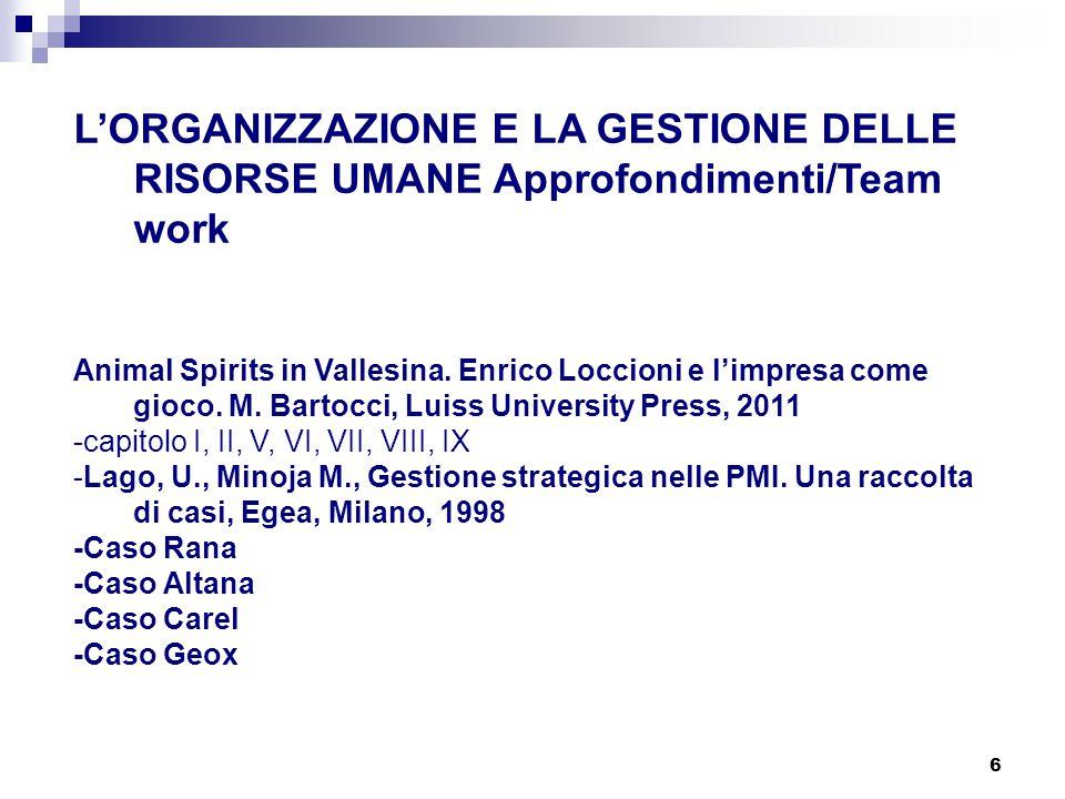 6 L'ORGANIZZAZIONE E LA GESTIONE DELLE RISORSE UMANE Approfondimenti/Team work Animal Spirits in Vallesina. Enrico Loccioni e l'impresa come gioco. M.