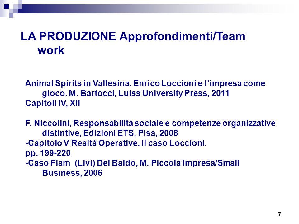 7 LA PRODUZIONE Approfondimenti/Team work Animal Spirits in Vallesina. Enrico Loccioni e l'impresa come gioco. M. Bartocci, Luiss University Press, 20