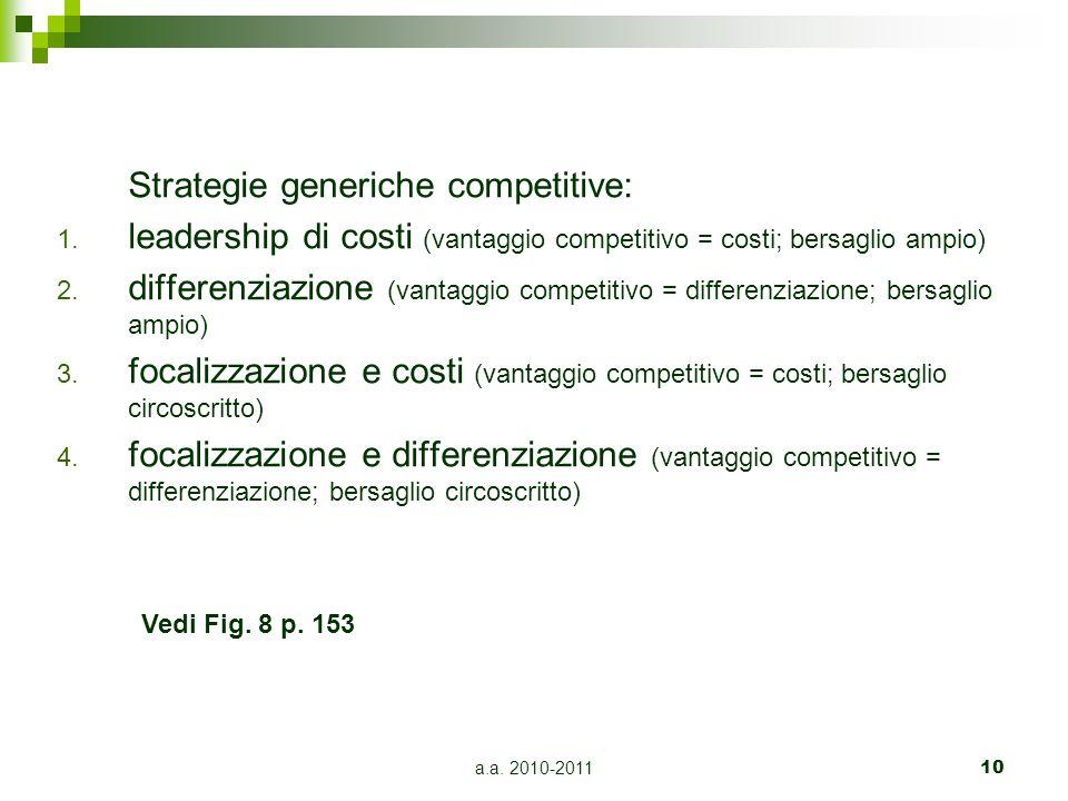 a.a. 2010-201110 Strategie generiche competitive: 1. leadership di costi (vantaggio competitivo = costi; bersaglio ampio) 2. differenziazione (vantagg
