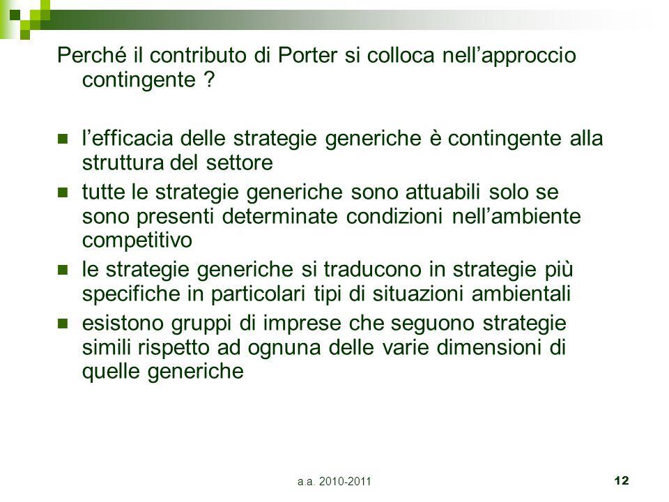 a.a. 2010-201112 Perché il contributo di Porter si colloca nell'approccio contingente ? l'efficacia delle strategie generiche è contingente alla strut