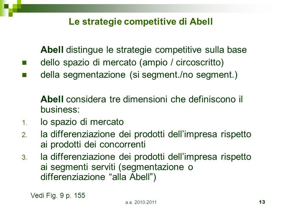 a.a. 2010-201113 Le strategie competitive di Abell Abell distingue le strategie competitive sulla base dello spazio di mercato (ampio / circoscritto)
