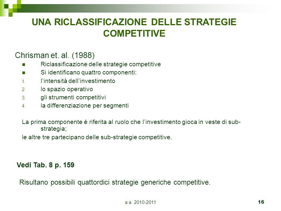 a.a. 2010-201116 Chrisman et. al. (1988) Riclassificazione delle strategie competitive Si identificano quattro componenti: 1. l'intensità dell'investi