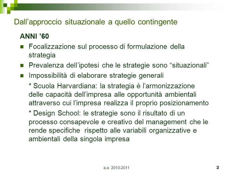 a.a. 2010-20112 Dall'approccio situazionale a quello contingente ANNI '60 Focalizzazione sul processo di formulazione della strategia Prevalenza delI'