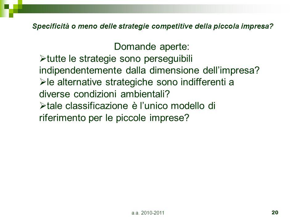 a.a. 2010-201120 Domande aperte:  tutte le strategie sono perseguibili indipendentemente dalla dimensione dell'impresa?  le alternative strategiche