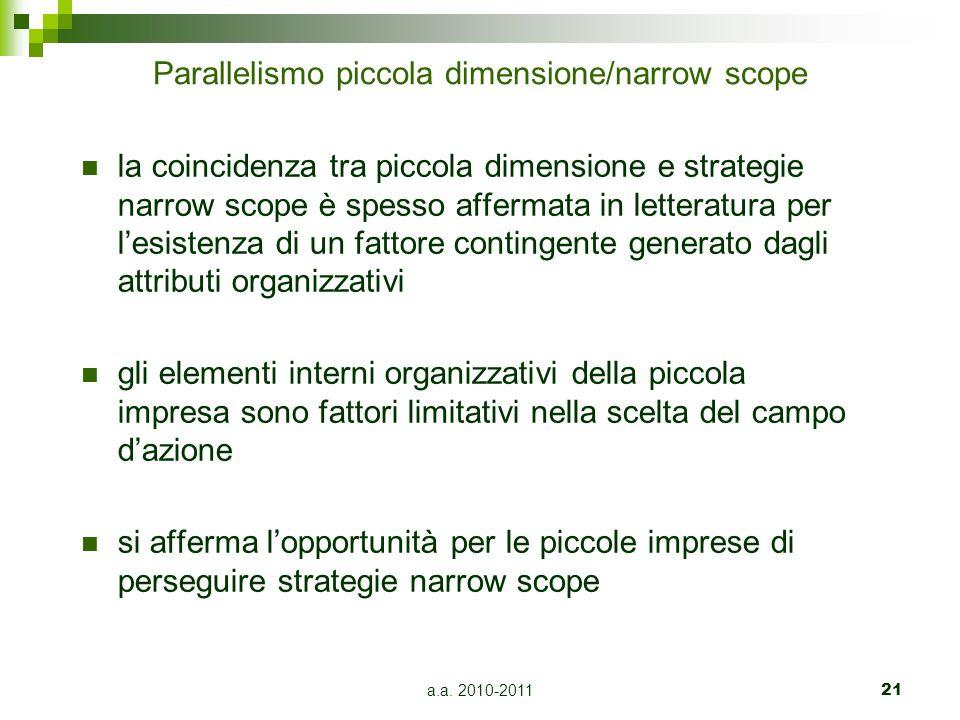 a.a. 2010-201121 Parallelismo piccola dimensione/narrow scope la coincidenza tra piccola dimensione e strategie narrow scope è spesso affermata in let