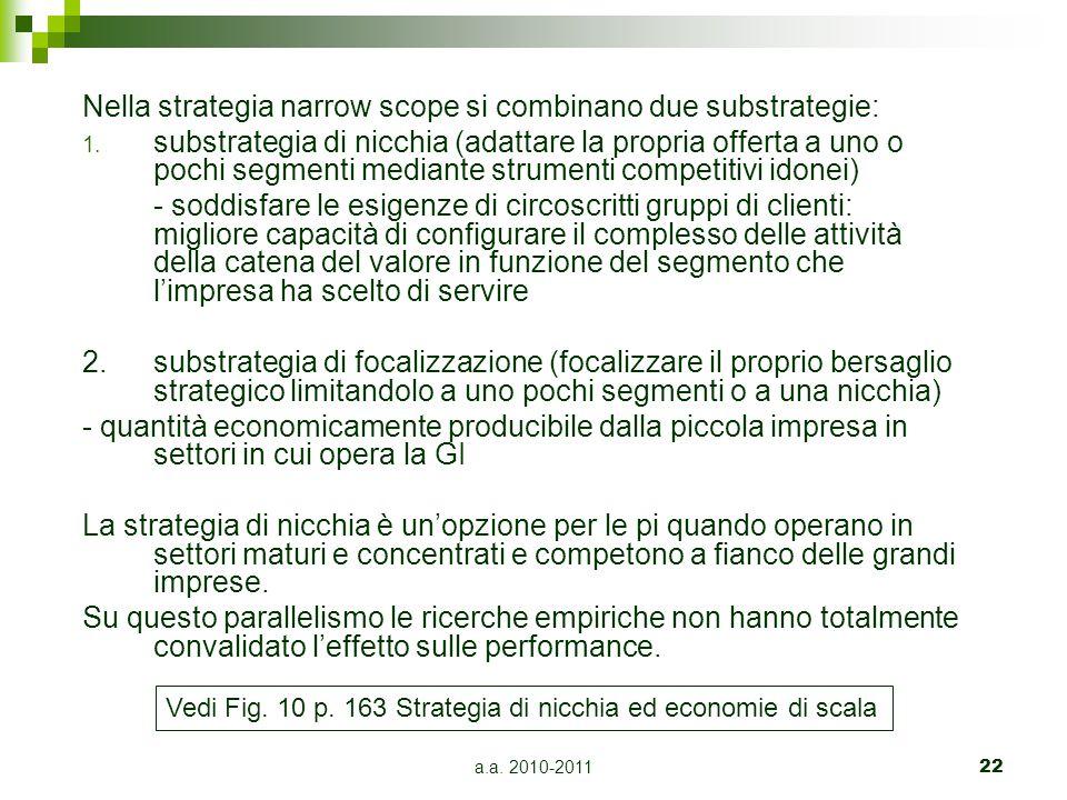 a.a. 2010-201122 Nella strategia narrow scope si combinano due substrategie: 1. substrategia di nicchia (adattare la propria offerta a uno o pochi seg