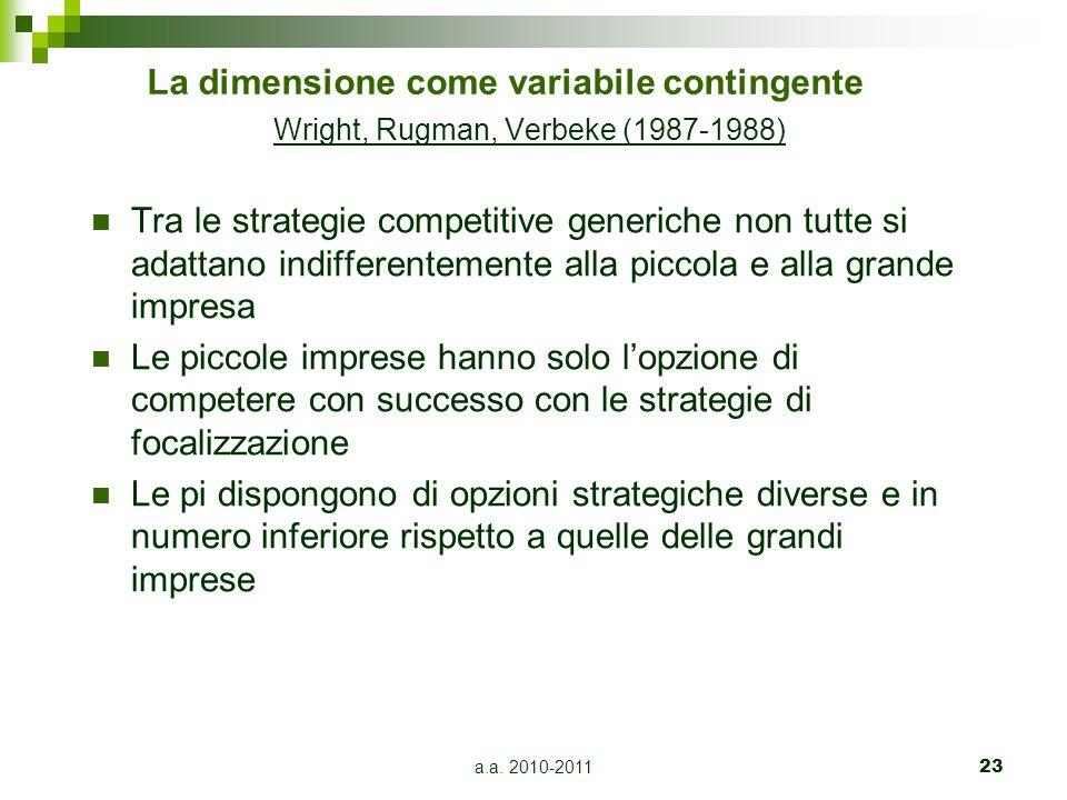 a.a. 2010-201123 La dimensione come variabile contingente Wright, Rugman, Verbeke (1987-1988) Tra le strategie competitive generiche non tutte si adat