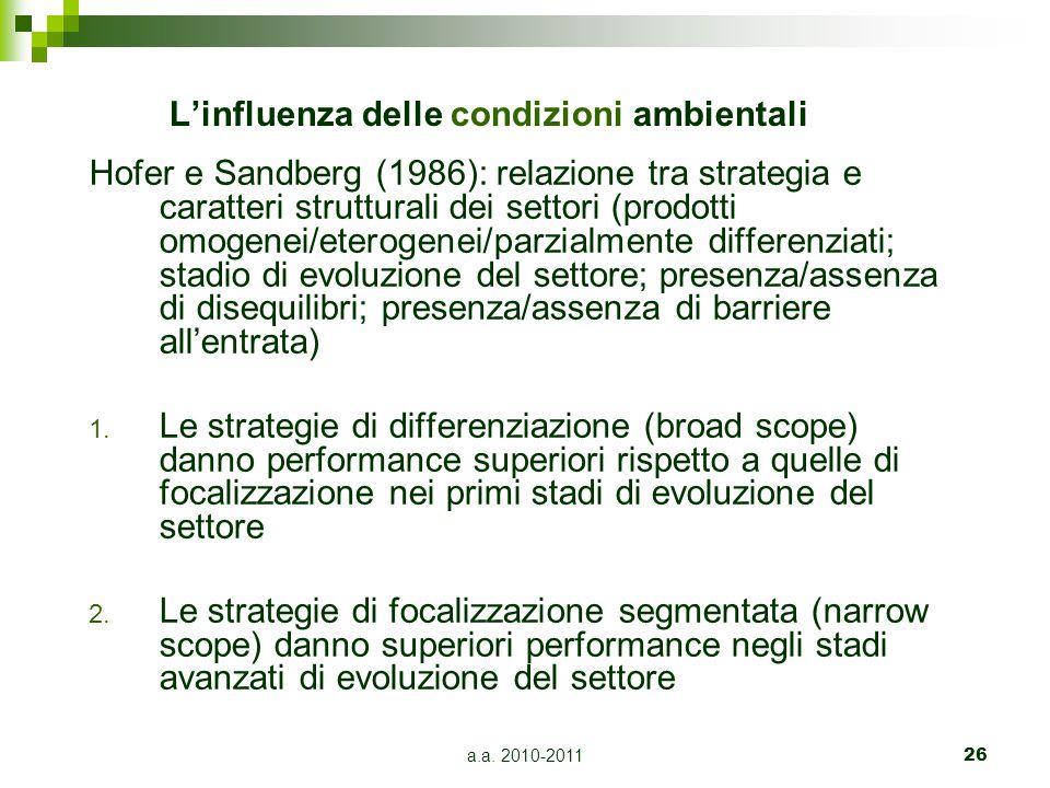 a.a. 2010-201126 L'influenza delle condizioni ambientali Hofer e Sandberg (1986): relazione tra strategia e caratteri strutturali dei settori (prodott