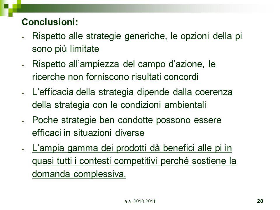 a.a. 2010-201128 Conclusioni: - Rispetto alle strategie generiche, le opzioni della pi sono più limitate - Rispetto all'ampiezza del campo d'azione, l
