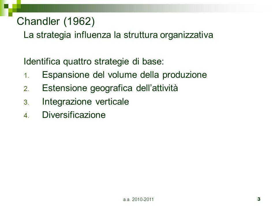 a.a. 2010-20113 Chandler (1962) La strategia influenza la struttura organizzativa Identifica quattro strategie di base: 1. Espansione del volume della
