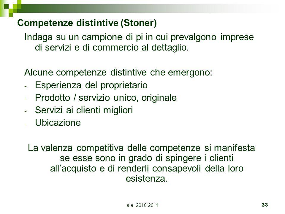 a.a. 2010-201133 Competenze distintive (Stoner) Indaga su un campione di pi in cui prevalgono imprese di servizi e di commercio al dettaglio. Alcune c