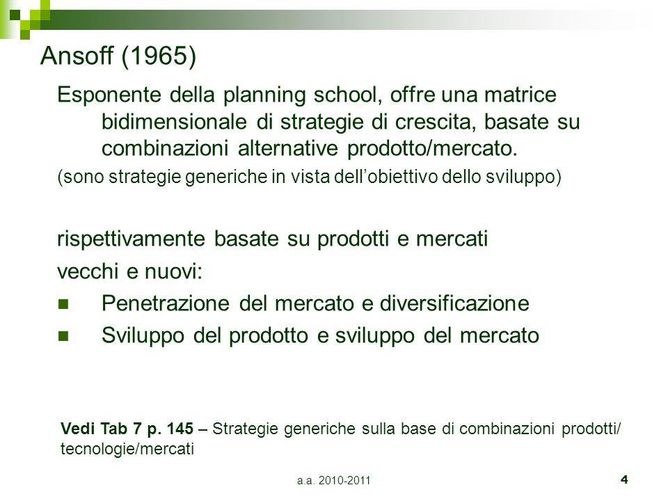 a.a. 2010-20114 Ansoff (1965) Esponente della planning school, offre una matrice bidimensionale di strategie di crescita, basate su combinazioni alter