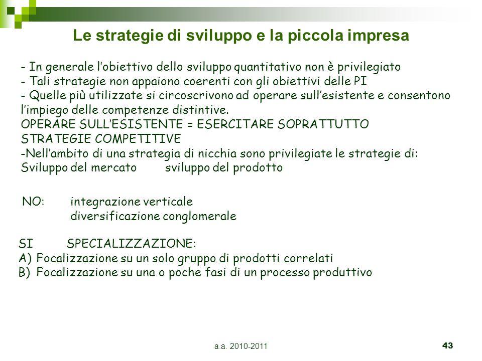 a.a. 2010-201143 Le strategie di sviluppo e la piccola impresa - In generale l'obiettivo dello sviluppo quantitativo non è privilegiato - Tali strateg