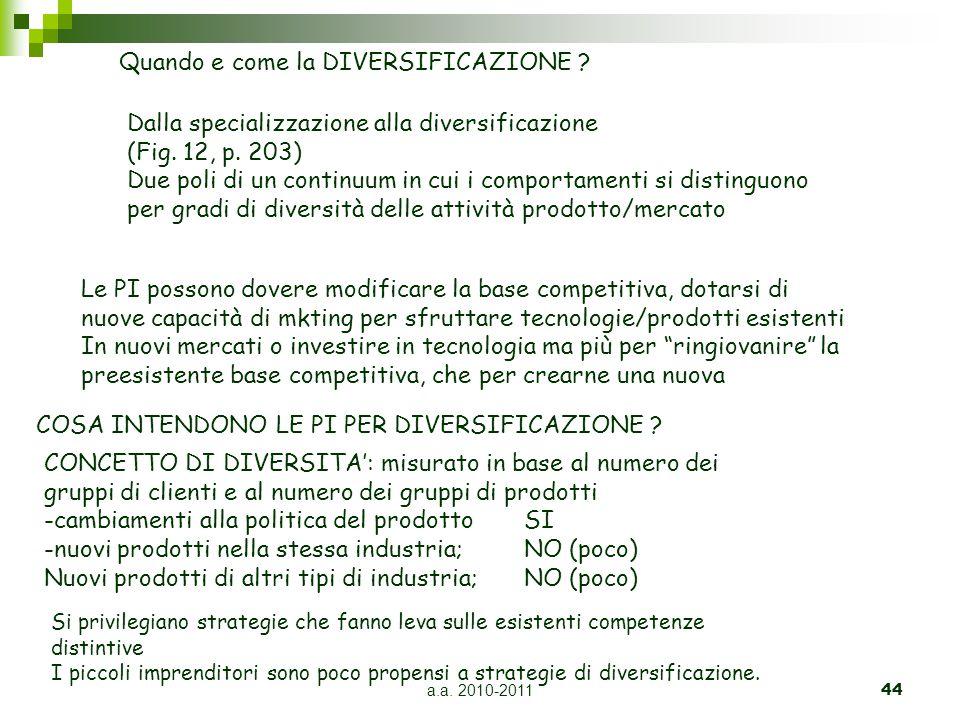 a.a. 2010-201144 Quando e come la DIVERSIFICAZIONE ? Dalla specializzazione alla diversificazione (Fig. 12, p. 203) Due poli di un continuum in cui i