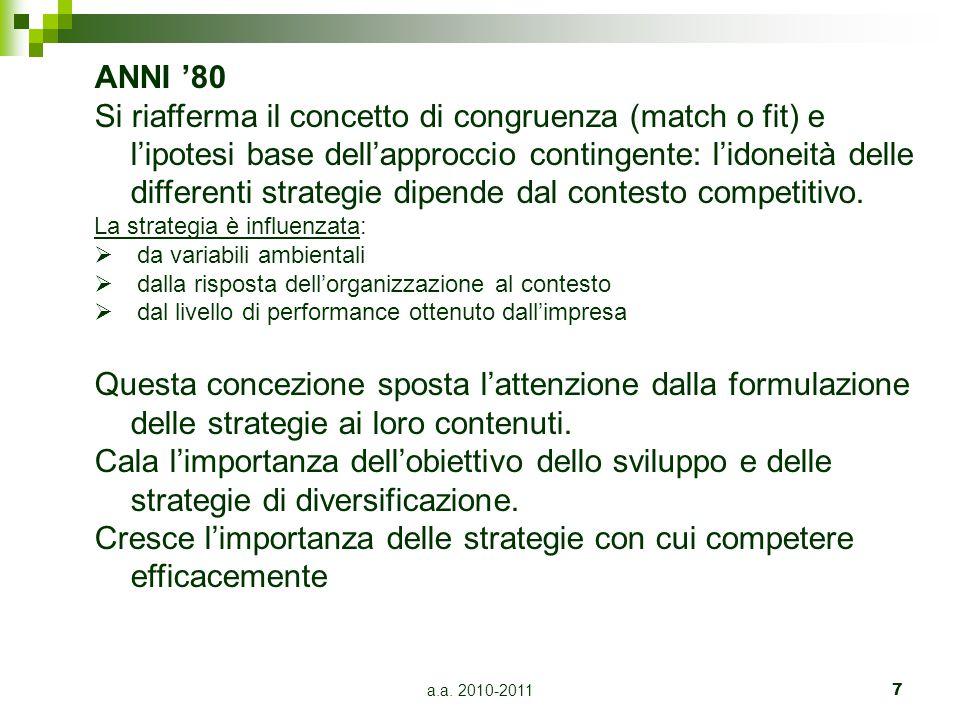 a.a. 2010-20117 ANNI '80 Si riafferma il concetto di congruenza (match o fit) e l'ipotesi base dell'approccio contingente: l'idoneità delle differenti