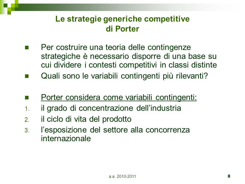 a.a. 2010-20118 Le strategie generiche competitive di Porter Per costruire una teoria delle contingenze strategiche è necessario disporre di una base