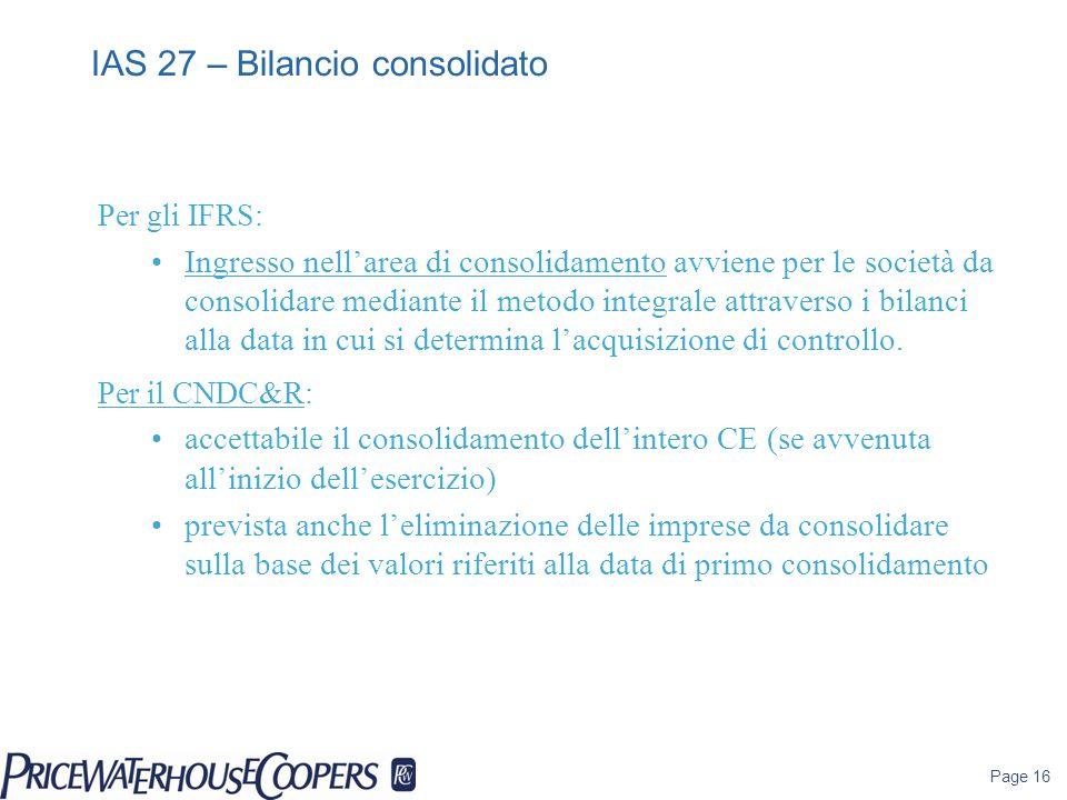 Page 16 Per gli IFRS: Ingresso nell'area di consolidamento avviene per le società da consolidare mediante il metodo integrale attraverso i bilanci all