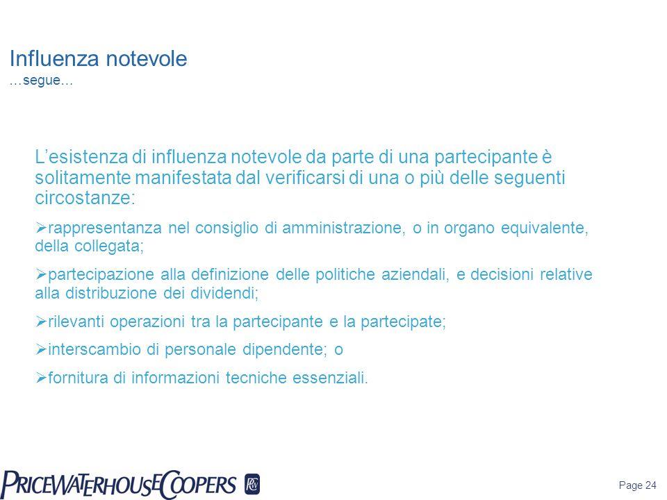 Page 24 Influenza notevole …segue… L'esistenza di influenza notevole da parte di una partecipante è solitamente manifestata dal verificarsi di una o p