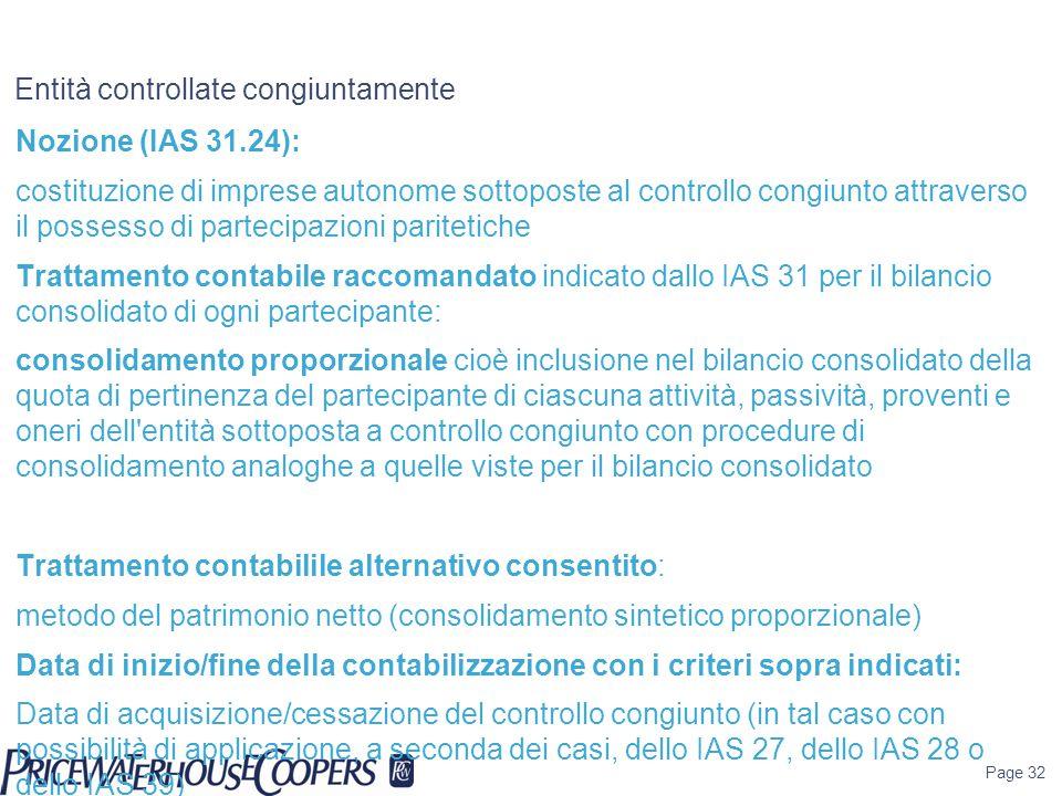 Page 32 Entità controllate congiuntamente Nozione (IAS 31.24): costituzione di imprese autonome sottoposte al controllo congiunto attraverso il posses