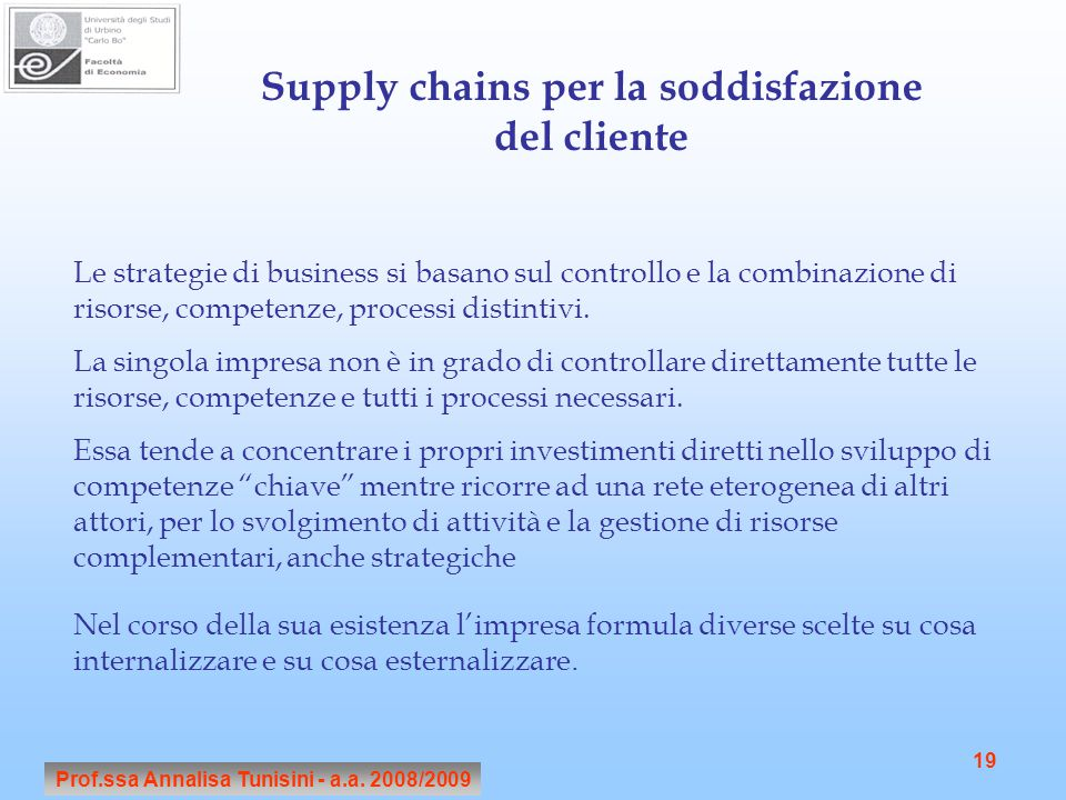 Prof.ssa Annalisa Tunisini - a.a. 2008/2009 19 Supply chains per la soddisfazione del cliente Le strategie di business si basano sul controllo e la co
