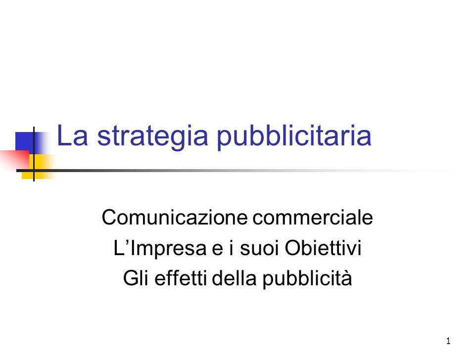 2 La strategia pubblicitaria La comunicazione d'impresa Si è già definita la comunicazione d'impresa come Un processo che … utilizzando … discipline, mezzi, strumenti diversi … consente di … presentarsi e posizionarsi sul mercato agendo su … atteggiamenti, comportamenti, motivazioni degli interlocutori cui ci si rivolge