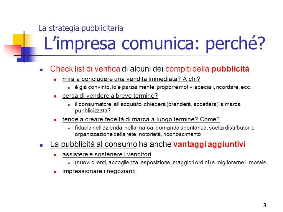 3 La strategia pubblicitaria L'impresa comunica: perché? Check list di verifica di alcuni dei compiti della pubblicità mira a concludere una vendita i