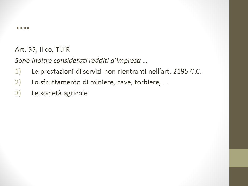 …. Art. 55, II co, TUIR Sono inoltre considerati redditi d'impresa … 1)Le prestazioni di servizi non rientranti nell'art. 2195 C.C. 2)Lo sfruttamento