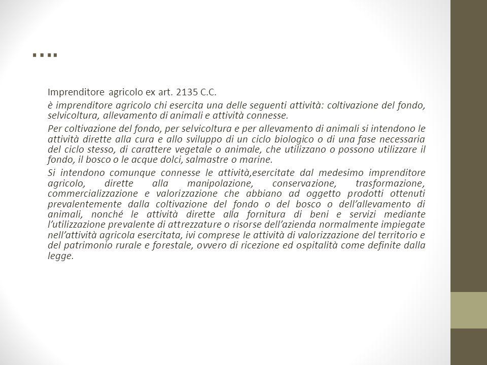 …. Imprenditore agricolo ex art. 2135 C.C. è imprenditore agricolo chi esercita una delle seguenti attività: coltivazione del fondo, selvicoltura, all