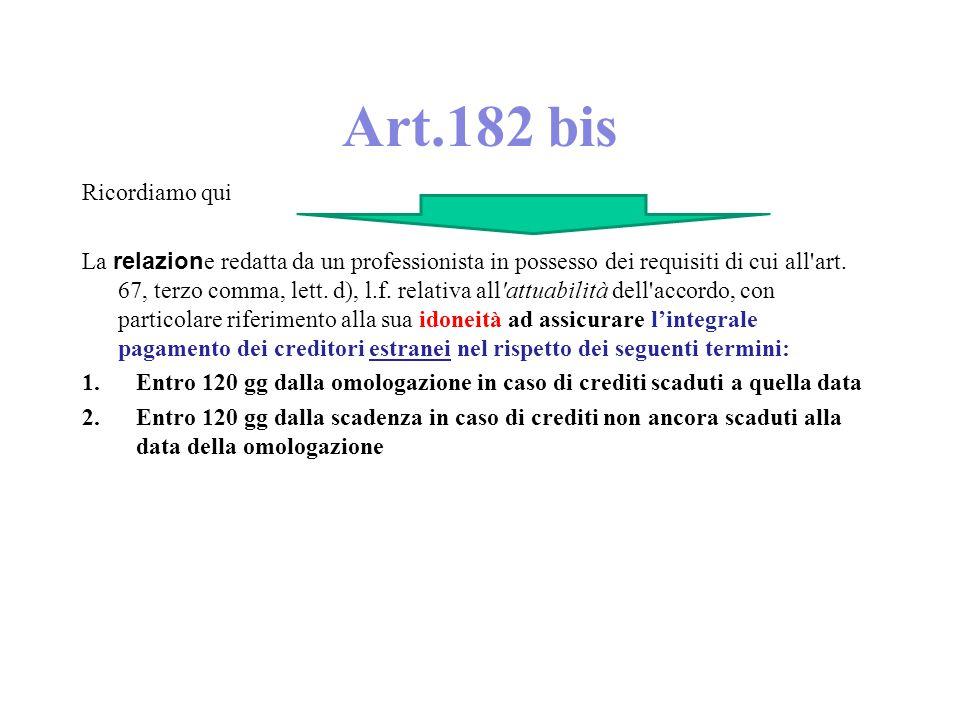 Art.182 bis Ricordiamo qui La relazion e redatta da un professionista in possesso dei requisiti di cui all art.