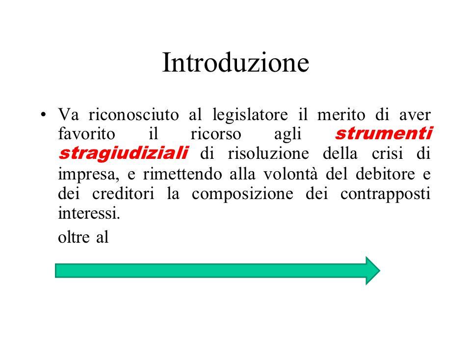Introduzione Va riconosciuto al legislatore il merito di aver favorito il ricorso agli strumenti stragiudiziali di risoluzione della crisi di impresa, e rimettendo alla volontà del debitore e dei creditori la composizione dei contrapposti interessi.