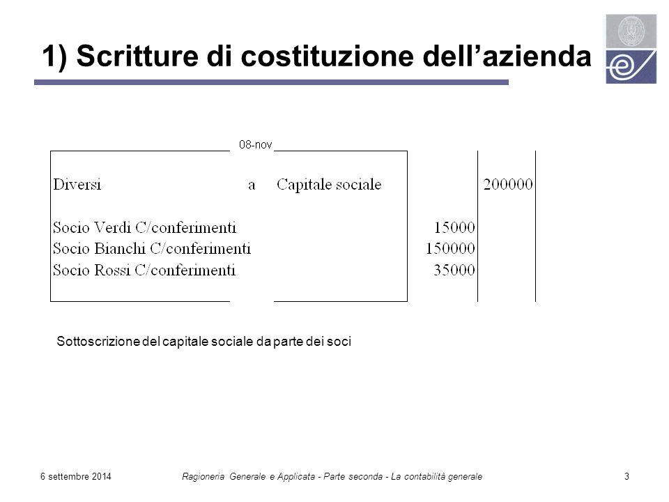 6 settembre 2014Ragioneria Generale e Applicata - Parte seconda - La contabilità generale3 1) Scritture di costituzione dell'azienda Sottoscrizione de