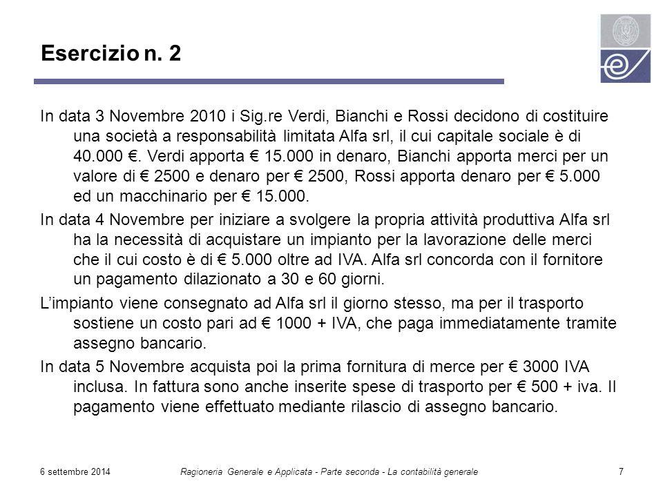 6 settembre 2014Ragioneria Generale e Applicata - Parte seconda - La contabilità generale7 In data 3 Novembre 2010 i Sig.re Verdi, Bianchi e Rossi dec