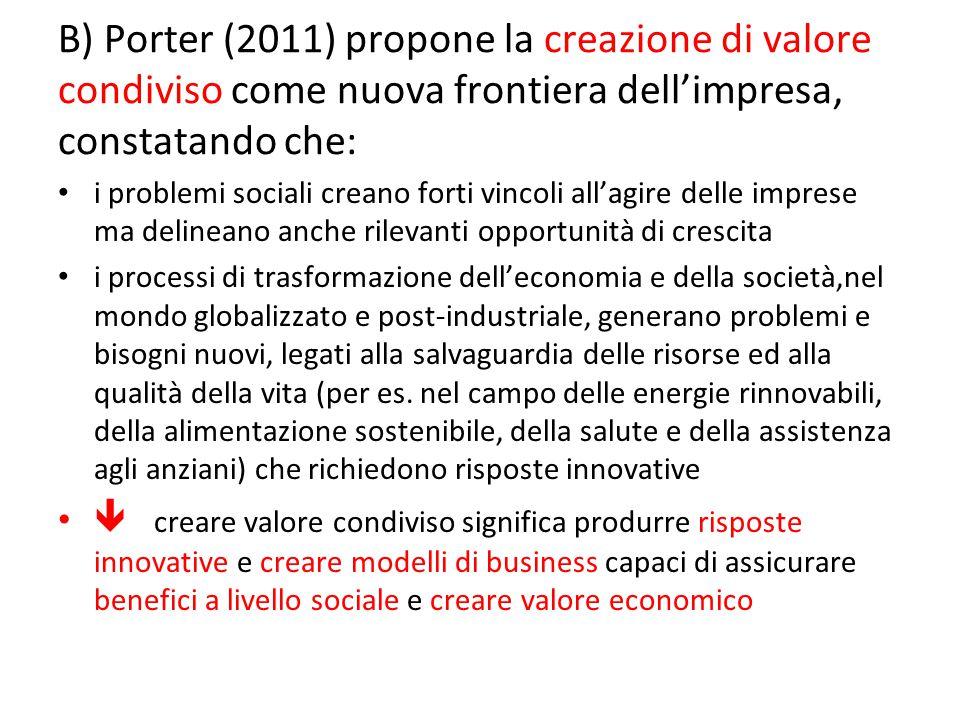 B) Porter (2011) propone la creazione di valore condiviso come nuova frontiera dell'impresa, constatando che: i problemi sociali creano forti vincoli