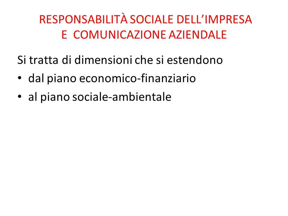 RESPONSABILITÀ SOCIALE DELL'IMPRESA E COMUNICAZIONE AZIENDALE Si tratta di dimensioni che si estendono dal piano economico-finanziario al piano social