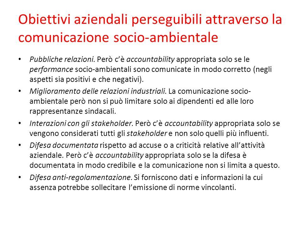 Obiettivi aziendali perseguibili attraverso la comunicazione socio-ambientale Pubbliche relazioni. Però c'è accountability appropriata solo se le perf
