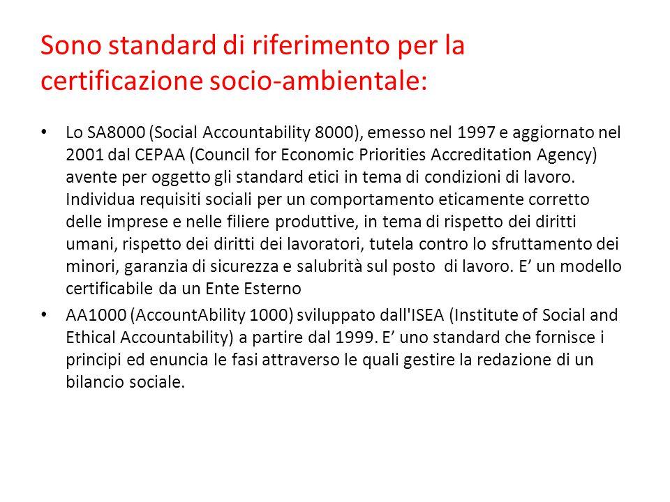 Sono standard di riferimento per la certificazione socio-ambientale: Lo SA8000 (Social Accountability 8000), emesso nel 1997 e aggiornato nel 2001 dal