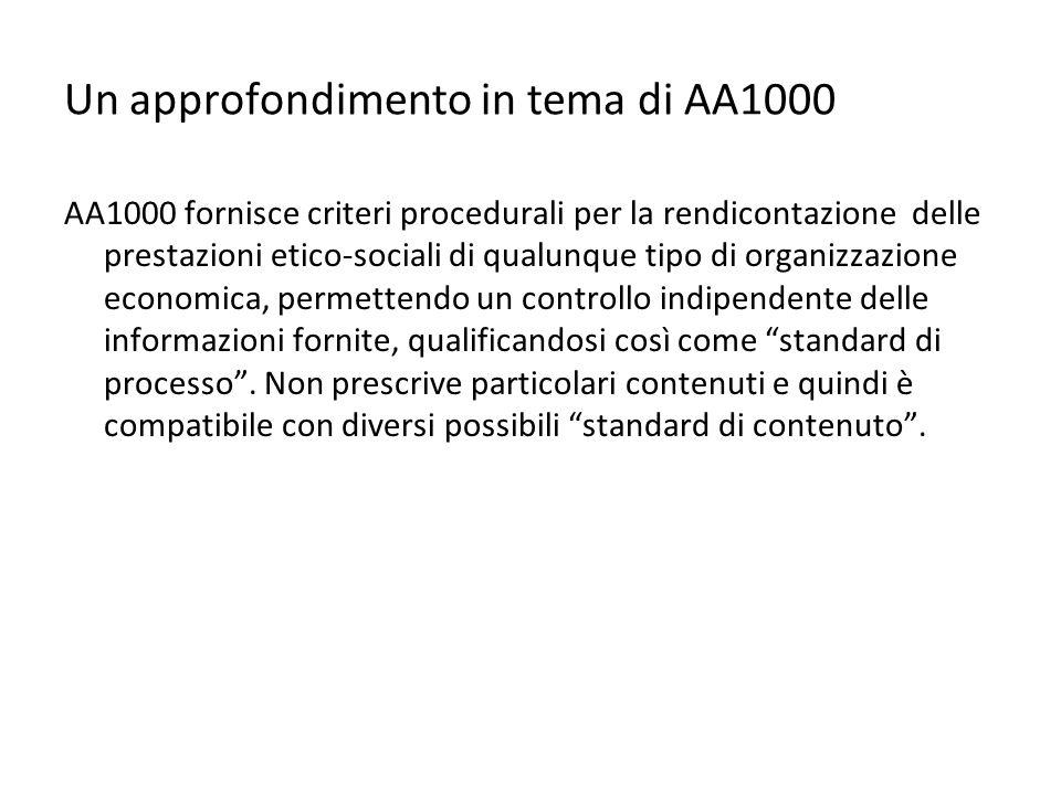 Un approfondimento in tema di AA1000 AA1000 fornisce criteri procedurali per la rendicontazione delle prestazioni etico-sociali di qualunque tipo di o